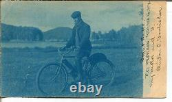 1904 MOTORCYCLE WithRIDER WARREN CO, NY REAL PHOTO POST CARD RARE
