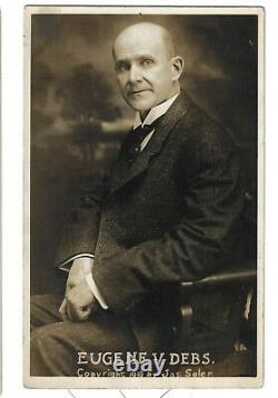 1910 Eugene Debs Real Photo Portrait Postcard By Jas. Solar He's Seated in Chair
