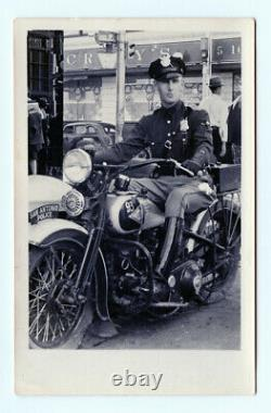 1930s 40s San Antonio Texas Motorcycle Police Officer Real Photo Post Card