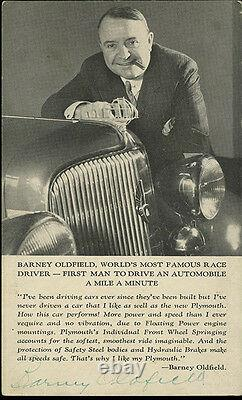 1934 Barney Oldfield, Auto Racing Pioneer & Driver, Signed Real Photo Postcard