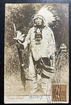 1938 Leonia NJ USA Real Picture Postcard Cover Native American Indian Sioux Chef