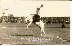 C. 1915 Peggy Warren On Snake Early Women Rodeo Rare Real Photo Card