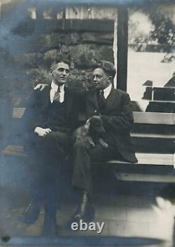 C. 1920's Male Couple with Dog Real Photo Postcard GAY AFFECTIONATE