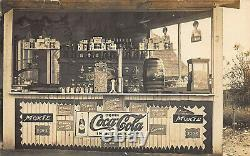 Coca-Cola Moxie Signs Display Refreshment Stand Real Photo Postcard
