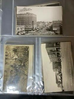 Lot 0798 Old Binder Of 114 Rppc Real Photo Postcards, Towns, Places, Odd, Etc