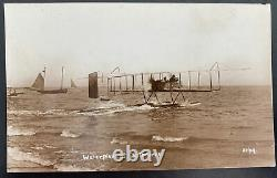 Mint England Real Picture Postcard Early Aviation Waterplane At Eastbourne