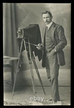 Photographer with Camera on Tripod Antique / Vintage Real Photo Postcard RPPC