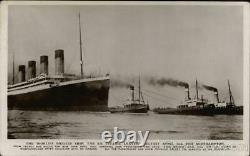RPPC Ocean Liner Titanic with Tugboats Real Photo Post Card Vintage