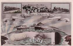 Rare Antique Vintage old Greeting Postcard Real Photograph Titanic Posted 1912s