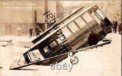 Real Photo 1907 Trolley Car Accident Kingston NY Consolidated RR RP RPPC D197