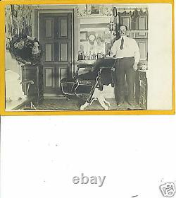 Real Photo Postcard RPPC Barber in Shop with Phonograph