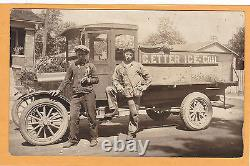 Real Photo Postcard RPPC Two Men and E. Etter Ice Coal Truck