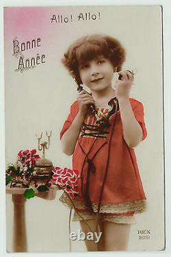 SUPER LOT of 11 Postcards French Girl Telephone Real Photos RPPC 1920s