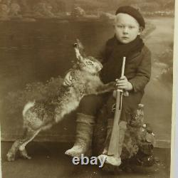 Vintage Real Picture 1930's Young Boy with Gun Hare Rabbit Photography Hunting